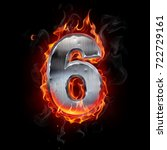 metallic number on fire. 3d... | Shutterstock . vector #722729161
