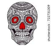 ornate sugar skull | Shutterstock .eps vector #722731309