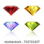 ruby  sapphire  emerald  yellow ... | Shutterstock .eps vector #722731327