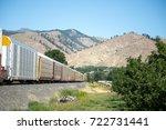 modern boxcar train leading... | Shutterstock . vector #722731441