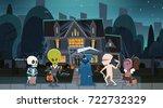 kids wearing monsters costumes... | Shutterstock .eps vector #722732329