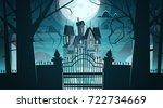 Gothic Castle Behind Gates In...
