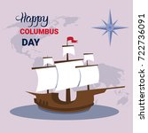 happy columbus day national usa ... | Shutterstock .eps vector #722736091