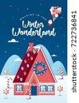 christmas  winter wonderland... | Shutterstock .eps vector #722736841