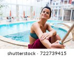 girl doing selfie near the pool ... | Shutterstock . vector #722739415