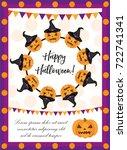 halloween poster. happy... | Shutterstock .eps vector #722741341