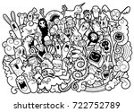 vector illustration of doodle... | Shutterstock .eps vector #722752789
