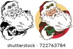 santa claus extends a hand in a ... | Shutterstock .eps vector #722763784