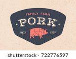 logo of butcher meat shop with... | Shutterstock .eps vector #722776597