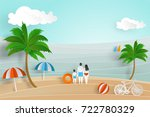 summer background in paper cut... | Shutterstock .eps vector #722780329