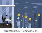 hacker and block chain security | Shutterstock .eps vector #722781241