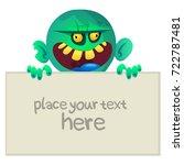 cartoon zombie holding wooden... | Shutterstock .eps vector #722787481