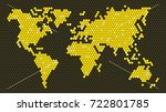 honeycomb world map  16 9  | Shutterstock .eps vector #722801785