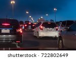 row of cars with traffic jam on ... | Shutterstock . vector #722802649