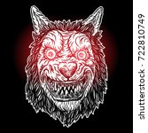 wolf blackwork tattoo flash...   Shutterstock .eps vector #722810749