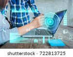 double exposure hand with smart ... | Shutterstock . vector #722813725