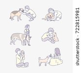 Stock vector various pet with people character line drawing vector illustration flat design 722815981