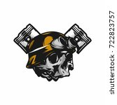 ghost rider road biker mascot... | Shutterstock .eps vector #722823757