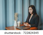 women work in asia and drink... | Shutterstock . vector #722824345