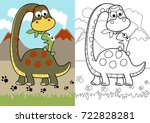 vector cartoon of dino feed his ... | Shutterstock .eps vector #722828281