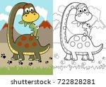 vector cartoon of dino feed his ... | Shutterstock .eps vector #722828281