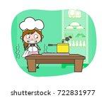 cartoon waitress scaring to...   Shutterstock .eps vector #722831977