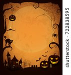 scary dark halloween poster.... | Shutterstock .eps vector #722838595