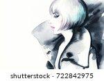 woman in coat. watercolor... | Shutterstock . vector #722842975