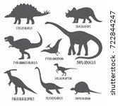 set of dinosaur silhouettes... | Shutterstock .eps vector #722844247