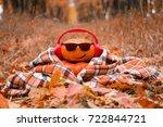 Funny Halloween. Pumpkin In...