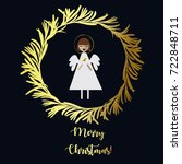 merry christmas. angel with... | Shutterstock .eps vector #722848711