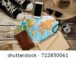 traveler items vacation travel... | Shutterstock . vector #722850061