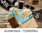 traveler items vacation travel... | Shutterstock . vector #722850061