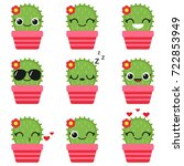 cute vector cactus with flower... | Shutterstock .eps vector #722853949