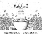coffee product label with latte ... | Shutterstock .eps vector #722855521