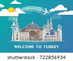 turkey landmark global travel... | Shutterstock .eps vector #722856934