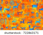 imitation of drawing in a cave...   Shutterstock . vector #722863171