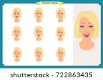 set of woman expression... | Shutterstock .eps vector #722863435