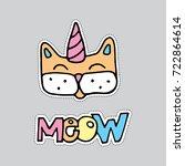 hand drawn cat illustration... | Shutterstock .eps vector #722864614