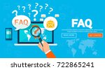 faq website banner. vector... | Shutterstock .eps vector #722865241