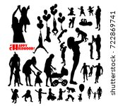 Set Of Silhouettes Of Childhoo...