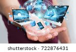 tech devices connected to each... | Shutterstock . vector #722876431