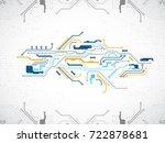 vector illustration  hi tech... | Shutterstock .eps vector #722878681
