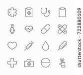set of medicine vector line... | Shutterstock .eps vector #722880109