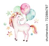 isolated cute watercolor... | Shutterstock . vector #722886787