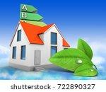3d illustration of house over... | Shutterstock . vector #722890327