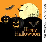 halloween background. pumpkin.... | Shutterstock .eps vector #722891995