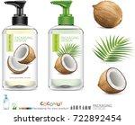 coconut oil bottle skin care...   Shutterstock .eps vector #722892454