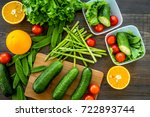 healthy meal in containers.... | Shutterstock . vector #722893744