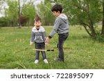 brothers having argument over... | Shutterstock . vector #722895097